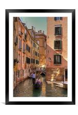 Gondola on the Rio Fuseri, Framed Mounted Print