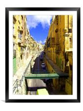 A street in Valletta, Framed Mounted Print