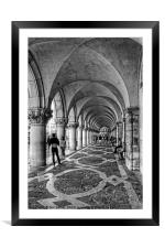 Doge's Palace Colannade - B&W, Framed Mounted Print