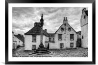 The Mercat Cross at Culross - B&W, Framed Mounted Print