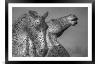 Kelpies - Black and White, Framed Mounted Print