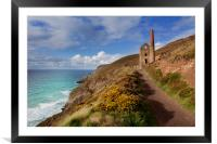 Wheal Coates mining engine house  St Agnes Cornwal, Framed Mounted Print