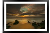 Sunset at Bedruthan steps Cornwall , Framed Mounted Print