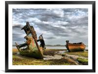 Wrecks at Fleetwood Marsh., Framed Mounted Print