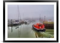 Pilot boat in foggy Lowestoft., Framed Mounted Print