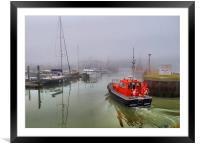 Pilot boat in foggy Lowestoft., Framed Mounted Print