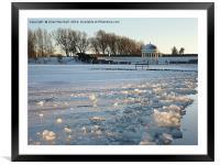 Frozen boating Lake. , Framed Mounted Print