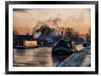 Sunset on the Frozen Lancaster Canal, Framed Mounted Print