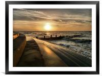 Sunset at Cleveleys Lancashire., Framed Mounted Print