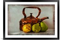Copper kettle with pears, Framed Mounted Print