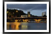 Bristol Bridge at dusk., Framed Mounted Print