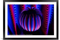 Blue and red in the glass ball., Framed Mounted Print
