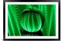 Green waves in glass ball, Framed Mounted Print