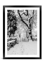 Kissing Gate In The Snow, Framed Mounted Print