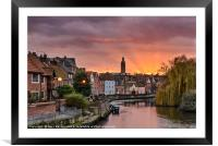 Norwich Quay Sunset, Framed Mounted Print