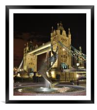 Tower Bridge and Girl with a Dolphin Fountain., Framed Mounted Print