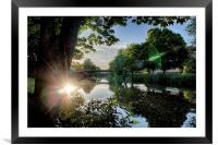 River Reflected Rays, Framed Mounted Print