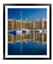 London Dock Reflection, Framed Mounted Print