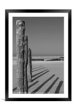 Wissant Beach Posts, Framed Mounted Print
