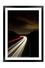Motorway light trails at Crawley, Sussex, Framed Mounted Print