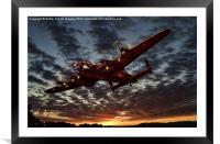 Avro Lancaster Sunset, Framed Mounted Print