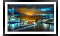 Last Light over London's City Lights, Framed Mounted Print