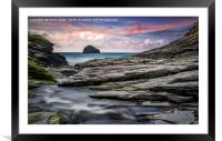 The Spectacular Rocks of Trebarwith, Framed Mounted Print