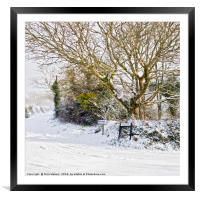 Snow In Mylor Bridge, Framed Mounted Print