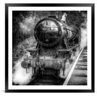 Under Steam Again. Mono., Framed Mounted Print