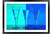 Three Wine Glasses in Blue, Framed Mounted Print