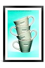 White On Blue Love Mugs, Framed Mounted Print