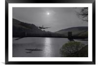Dambusters Lancaster at the Derwent Dam at night, Framed Mounted Print