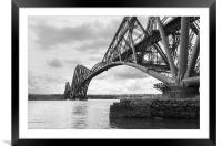 Forth Rail Bridge north east view black and white , Framed Mounted Print