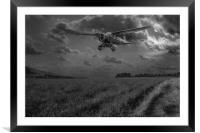 RAF Lysander on secret operation, B&W version, Framed Mounted Print
