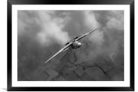 Spitfire PR XIX PS915 looping, B&W version, Framed Mounted Print