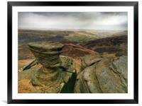 Rock Formations at Fairbrook Naze, Derbyshire., Framed Mounted Print
