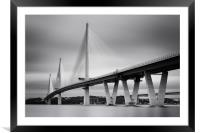 Queensferry Crossing bw, Framed Mounted Print
