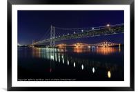 Scottish Steel in Silver and Gold lights at Night, Framed Mounted Print