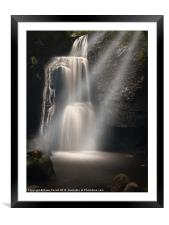 Lumsdale Valley Waterfall - Love, Framed Mounted Print