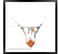 Dice Dropping into Water, Framed Mounted Print