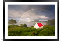 Applecross Red Roofed Cottage with Rainbows, Framed Mounted Print