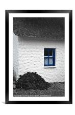 Irish Cottage with Blue Window, Framed Mounted Print