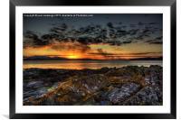 rocky sunset, Framed Mounted Print
