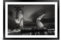 Kelpies at Night in B&W, Framed Mounted Print
