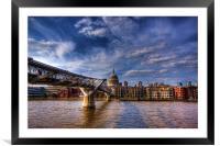 St Pauls and Millenium Bridge, Framed Mounted Print