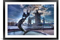 fountain and tower Bridge, Framed Mounted Print