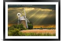 windmill with sunbeams, Framed Mounted Print