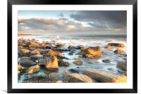 Holy Islands Sunrise Rocks, Framed Mounted Print