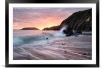 Sunset Waves at Marloes Sands, Framed Mounted Print