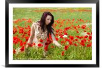 In The Poppies, Framed Mounted Print